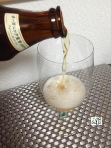 綺麗なグラスに注ぐキリン一番搾り シングルモルト